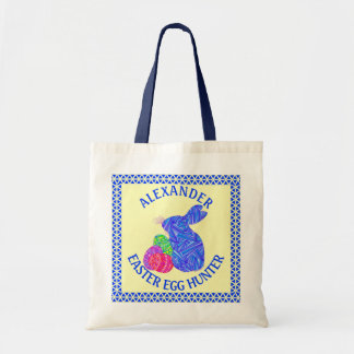 Blue Easter Bunny Easter Eggs Colorful Rabbit Fun Budget Tote Bag