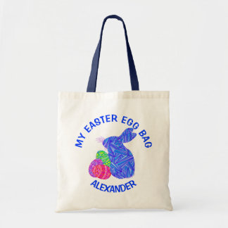 Blue Easter Bunny Easter Eggs Colorful Rabbit Fun Tote Bag