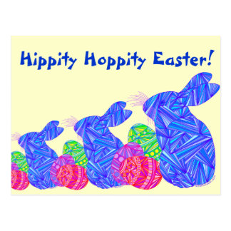 Blue Easter Bunny Hippity Hoppity Easter Post Card