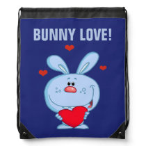 Blue Easter Bunny Holding Red Heart Drawstring Backpack