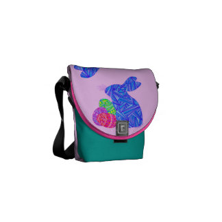 Blue Easter Bunny Messenger Bag