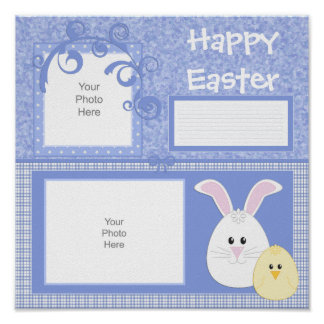 Blue Easter Bunny Scrapbook Page Poster