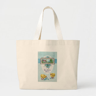 Blue Easter Chicks 1913 postmark Large Tote Bag