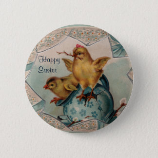 Blue Easter Egg and Chicks Button