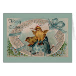 Blue Easter Egg and Chicks Greeting Card