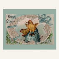 Blue Easter Egg and Chicks Vintage Postcard