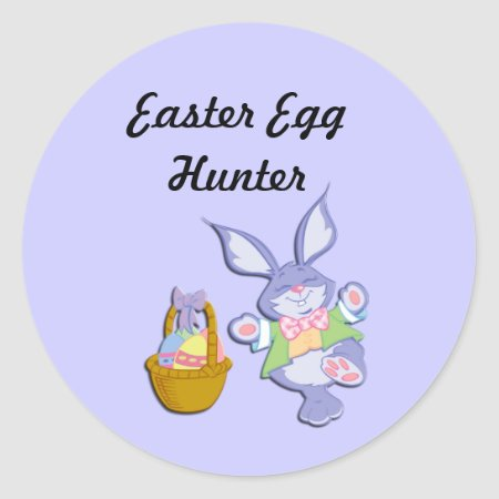 Blue Easter Egg Hunter Bunny and Basket Stickers