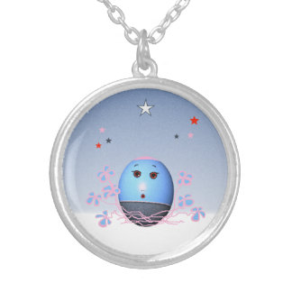 Blue Easter Eggs Round Pendant Necklace