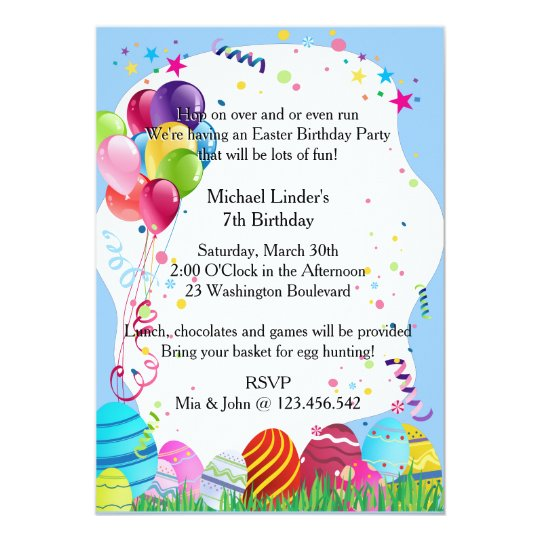 Blue easter sunday birthday party invites zazzle blue easter sunday birthday party invites filmwisefo