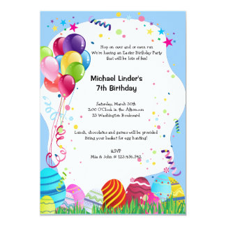 Blue Easter Sunday Birthday Party Invites