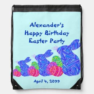 Blue Easter Themed Birthday Party Keepsake Bag Drawstring Bags