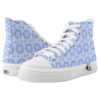 Blue Eastern Filigree Hi Top Sneakers