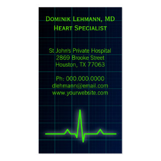 Blue ECG Heart Rate Monitor Business Cards