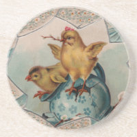 Blue Egg and Chicks Easter Coaster