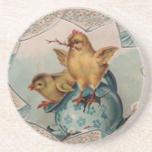 Blue Egg and Chicks Easter Coaster