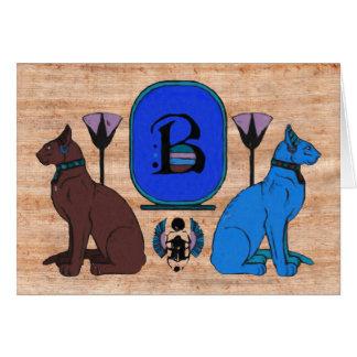 Blue Egyptian Cat Monogram Greeting Card: B Card