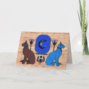 Blue Egyptian Cat Monogram Greeting Card: C by petserrano
