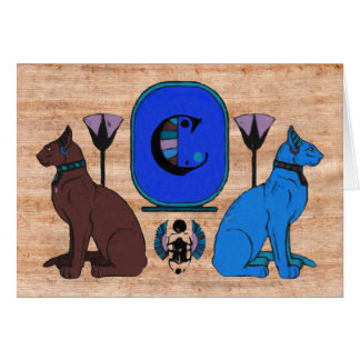 Blue Egyptian Cat Monogram Greeting Card: C Greeting Card