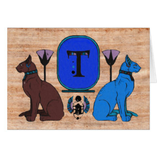 Blue Egyptian Cat Monogram Greeting Card: T Greeting Card