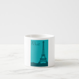 Blue Eifel Tower 6 Oz Ceramic Espresso Cup
