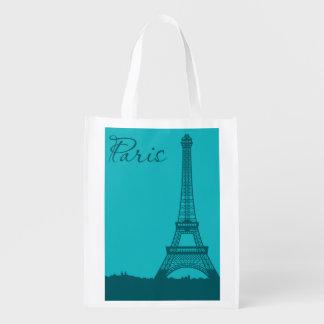 Blue Eifel Tower Grocery Bags