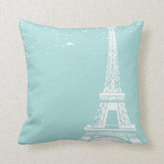 Blue Eiffel Tower Custom Cotton Pillows Throw Pillow