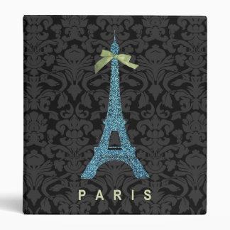 Blue Eiffel Tower in faux glitter Binder