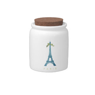 Blue Eiffel Tower in faux glitter Candy Dishes