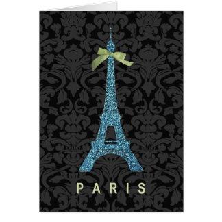 Blue Eiffel Tower in faux glitter Greeting Card