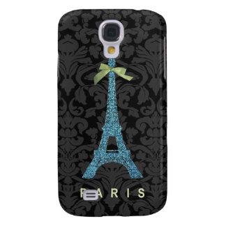 Blue Eiffel Tower in faux glitter Samsung Galaxy S4 Case