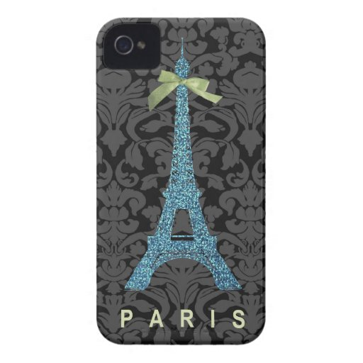 Blue Eiffel Tower in faux glitter Case-Mate iPhone 4 Cases