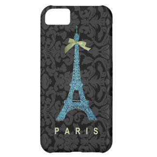 Blue Eiffel Tower in faux glitter Case For iPhone 5C