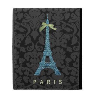 Blue Eiffel Tower in faux glitter iPad Folio Case