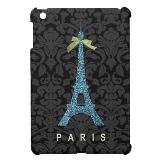Blue Eiffel Tower in faux glitter iPad Mini Case
