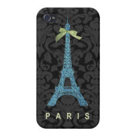 Blue Eiffel Tower in faux glitter Cases For iPhone 4