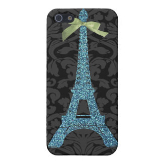Blue Eiffel Tower in faux glitter iPhone SE/5/5s Cover