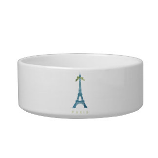 Blue Eiffel Tower in faux glitter Cat Water Bowl
