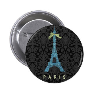 Blue Eiffel Tower in faux glitter Pinback Button