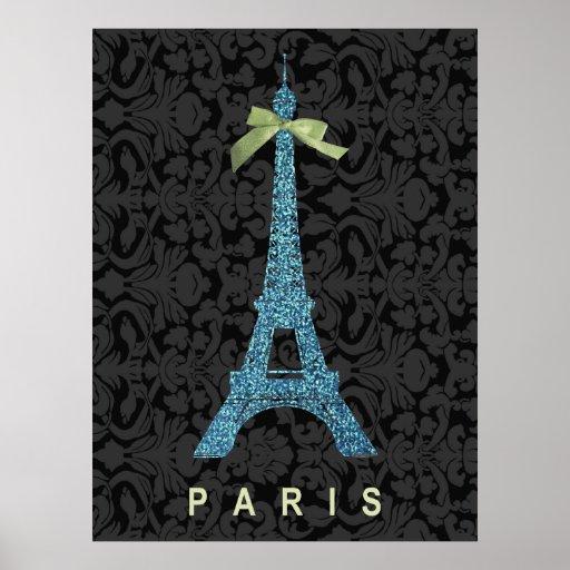 Blue Eiffel Tower in faux glitter Poster