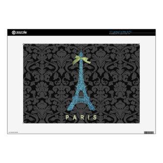 Blue Eiffel Tower in faux glitter Skins For Laptops