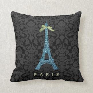 Blue Eiffel Tower in faux glitter Throw Pillow