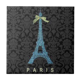 Blue Eiffel Tower in faux glitter Ceramic Tile
