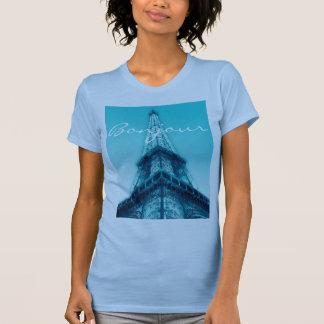 Blue Eiffel Tower Paris T-Shirt Bonjour