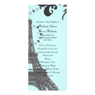 blue eiffel tower vintage paris wedding programs custom rack cards