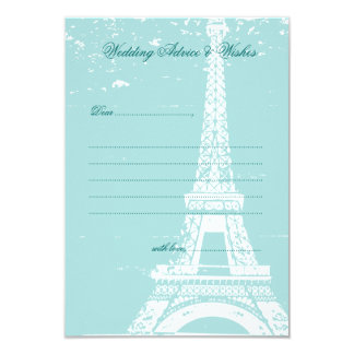 Blue Eiffel Tower Wedding Advice Cards