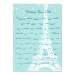 Blue Eiffel Tower Wedding Vows Libs 5x7 Paper Invitation Card