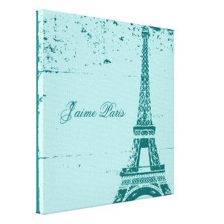 Blue Eiffel Tower Wrapped Canvas Art