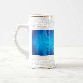 Blue Electric Audio Waveform Abstract Beer Stein