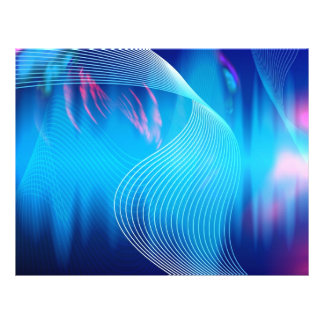 "Blue Electric Audio Waveform Abstract 8.5"" X 11"" Flyer"
