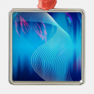 Blue Electric Audio Waveform Abstract Square Metal Christmas Ornament